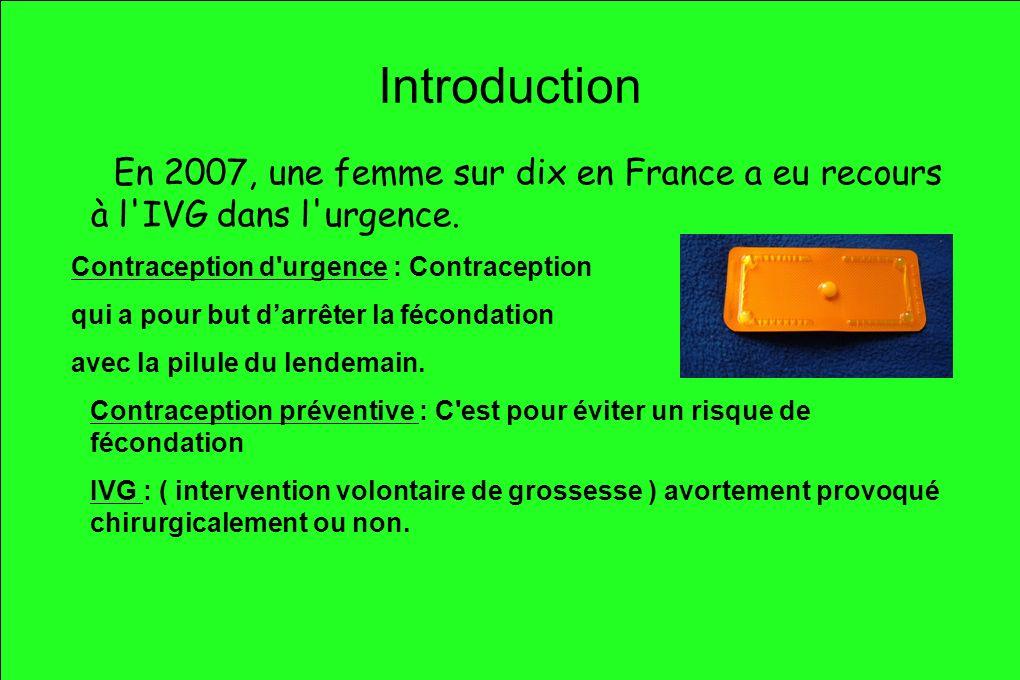 Introduction En 2007, une femme sur dix en France a eu recours à l IVG dans l urgence. Contraception d urgence : Contraception.