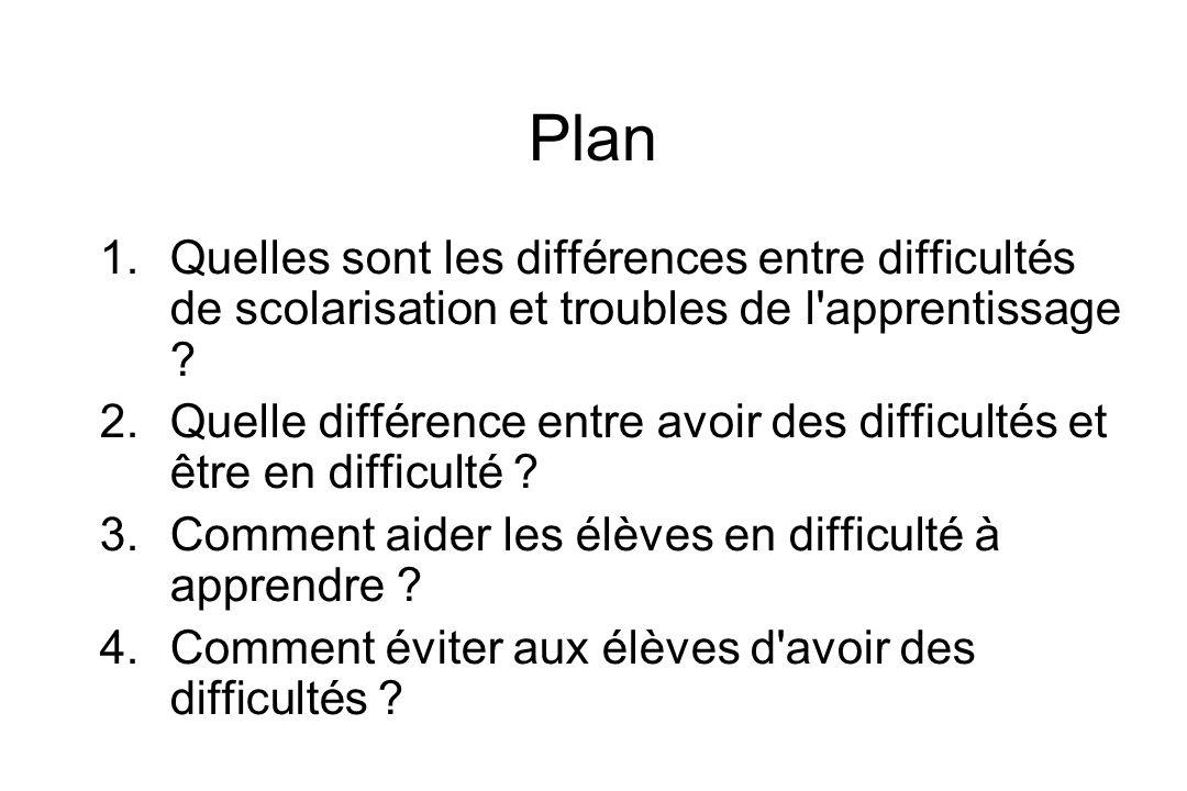 Plan Quelles sont les différences entre difficultés de scolarisation et troubles de l apprentissage
