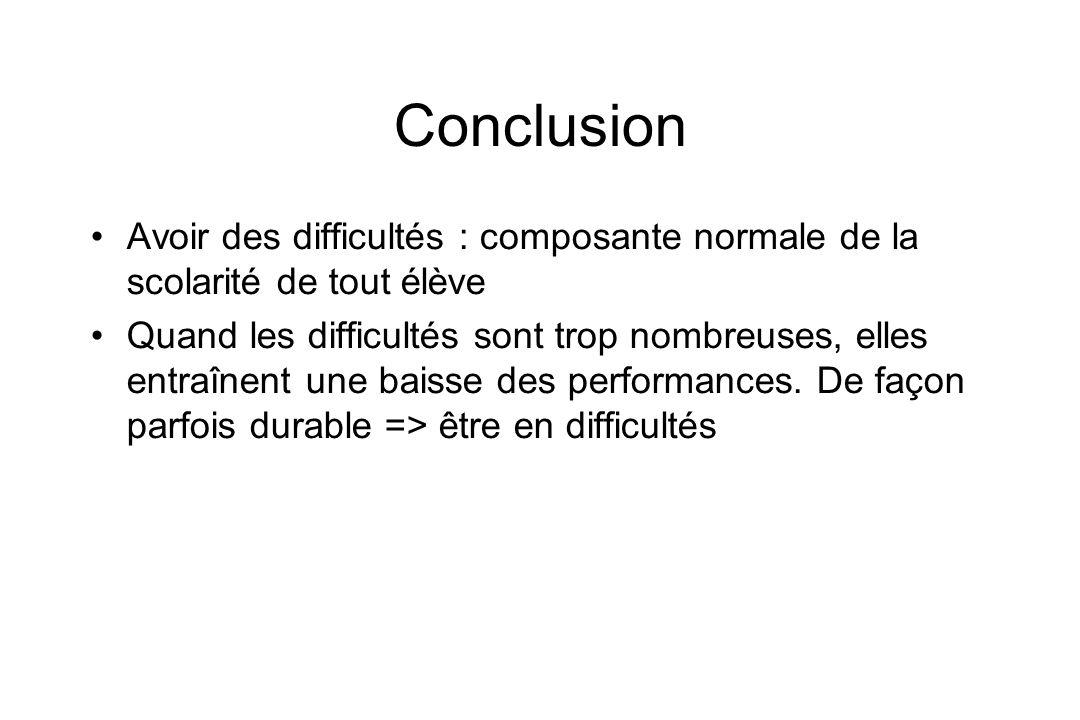 Conclusion Avoir des difficultés : composante normale de la scolarité de tout élève.