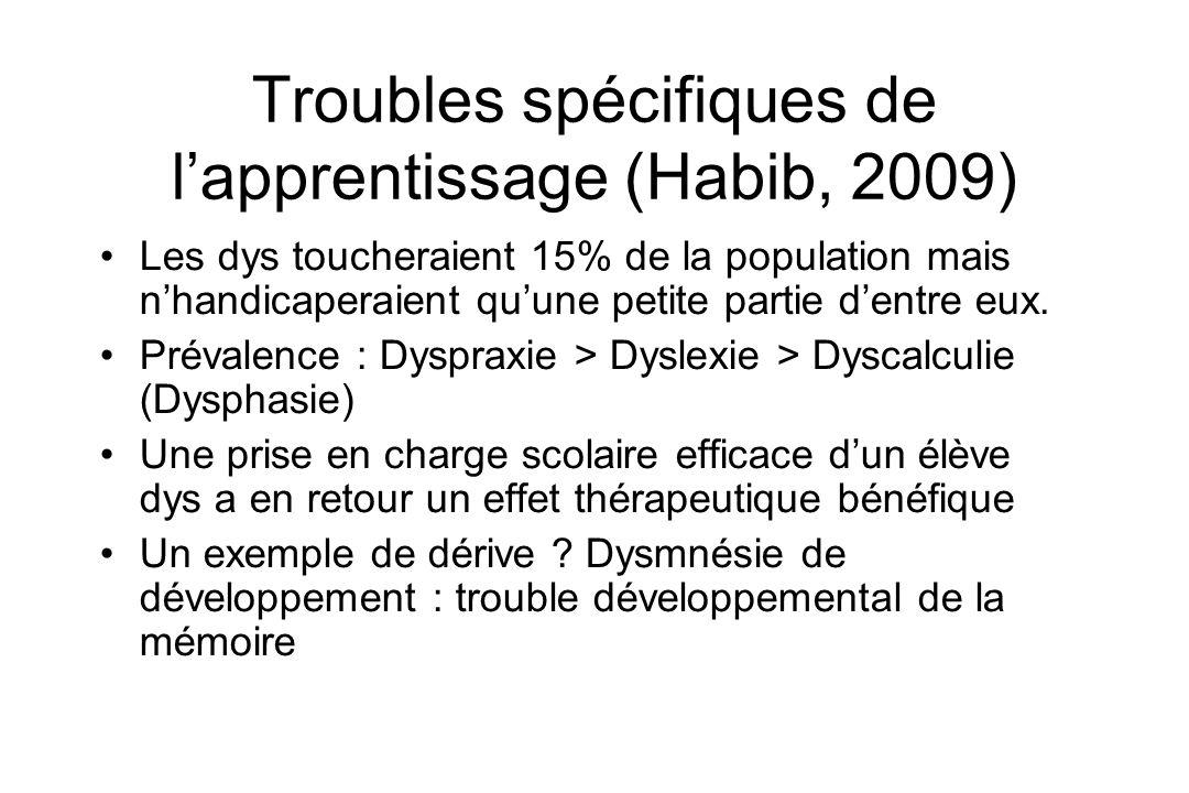 Troubles spécifiques de l'apprentissage (Habib, 2009)