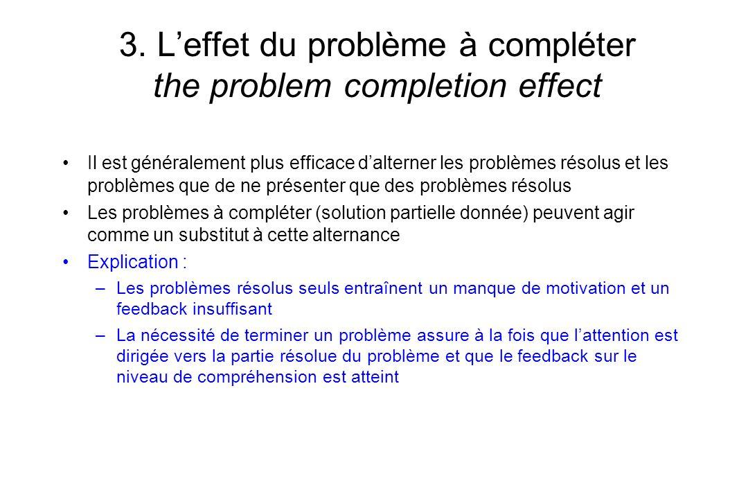 3. L'effet du problème à compléter the problem completion effect