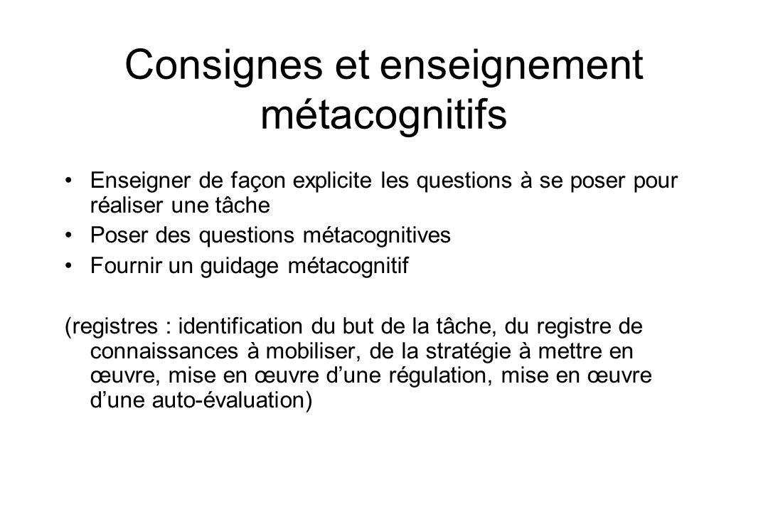 Consignes et enseignement métacognitifs