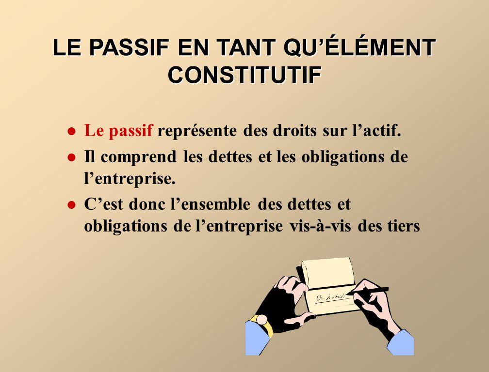 LE PASSIF EN TANT QU'ÉLÉMENT CONSTITUTIF