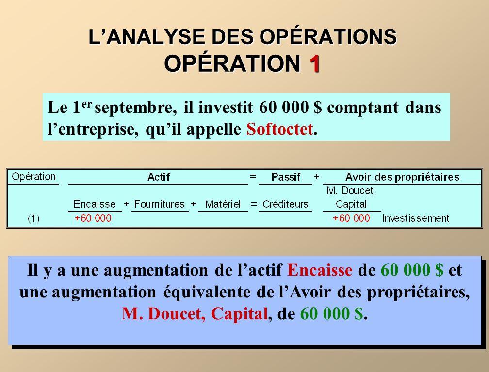 L'ANALYSE DES OPÉRATIONS OPÉRATION 1