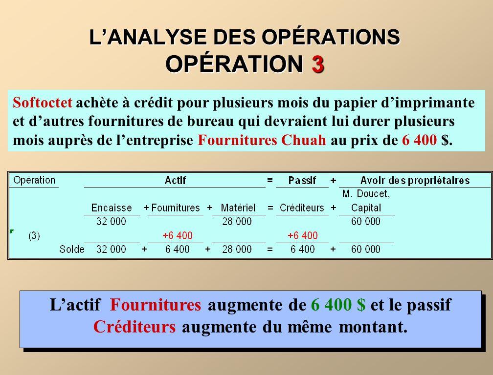L'ANALYSE DES OPÉRATIONS OPÉRATION 3