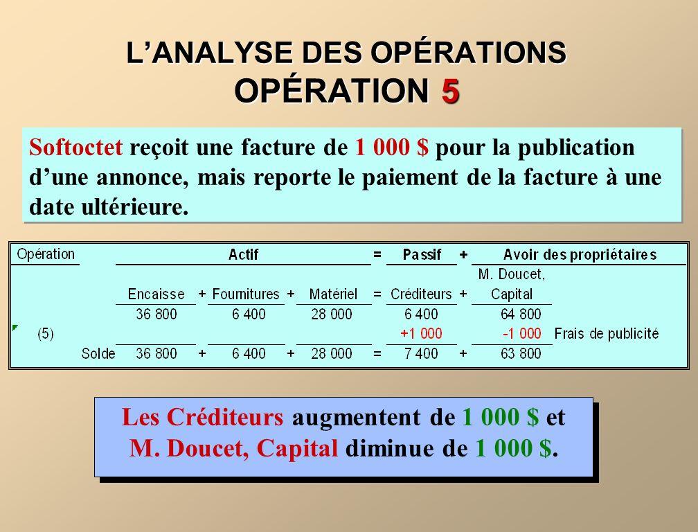 L'ANALYSE DES OPÉRATIONS OPÉRATION 5