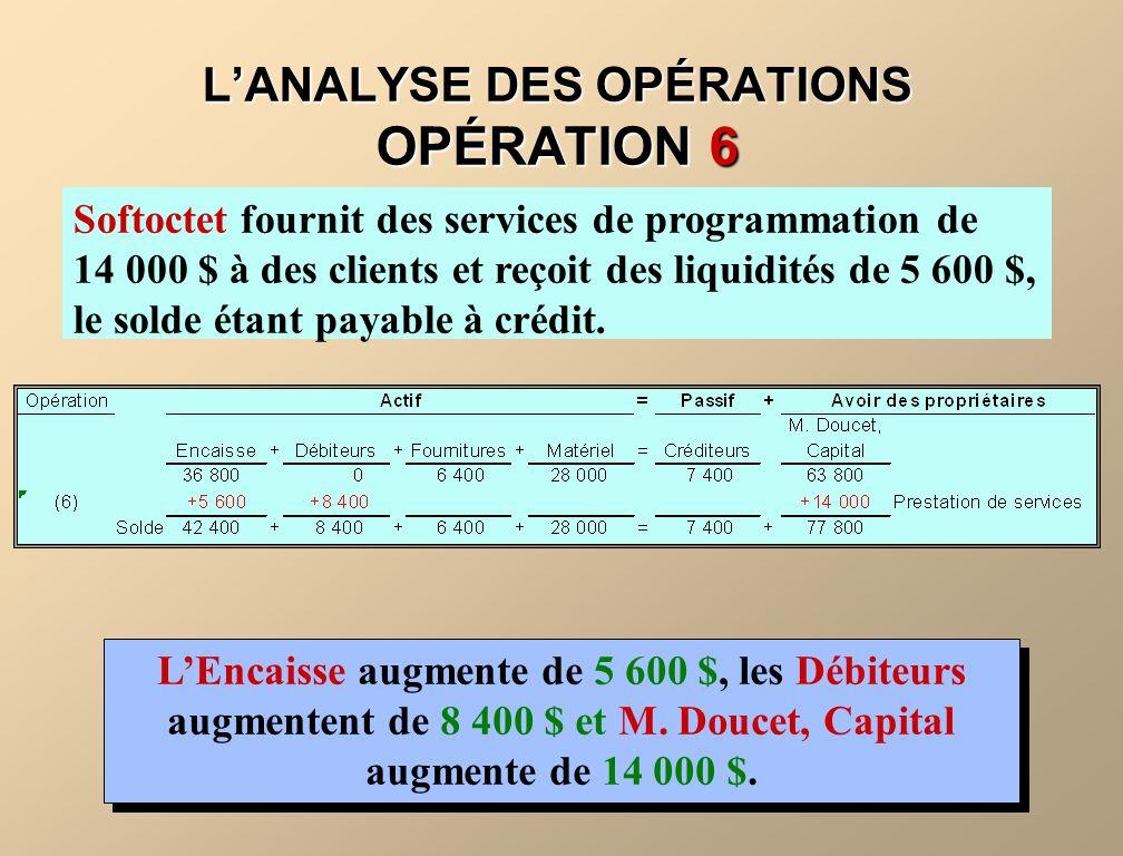 L'ANALYSE DES OPÉRATIONS OPÉRATION 6