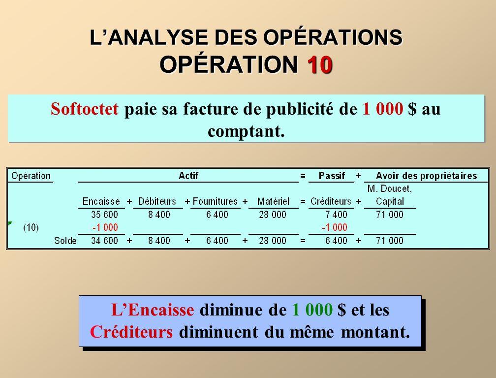 L'ANALYSE DES OPÉRATIONS OPÉRATION 10