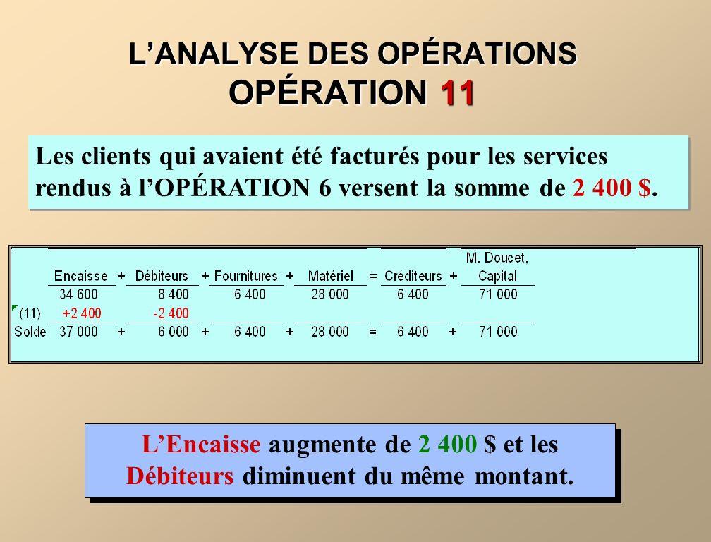 L'ANALYSE DES OPÉRATIONS OPÉRATION 11