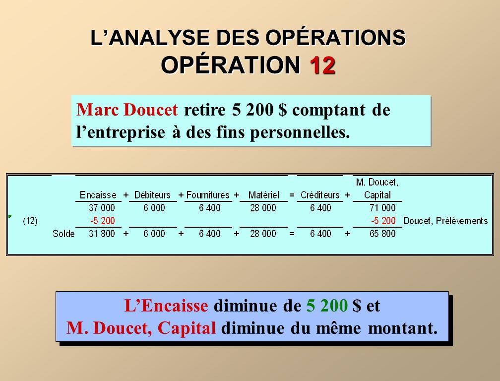 L'ANALYSE DES OPÉRATIONS OPÉRATION 12