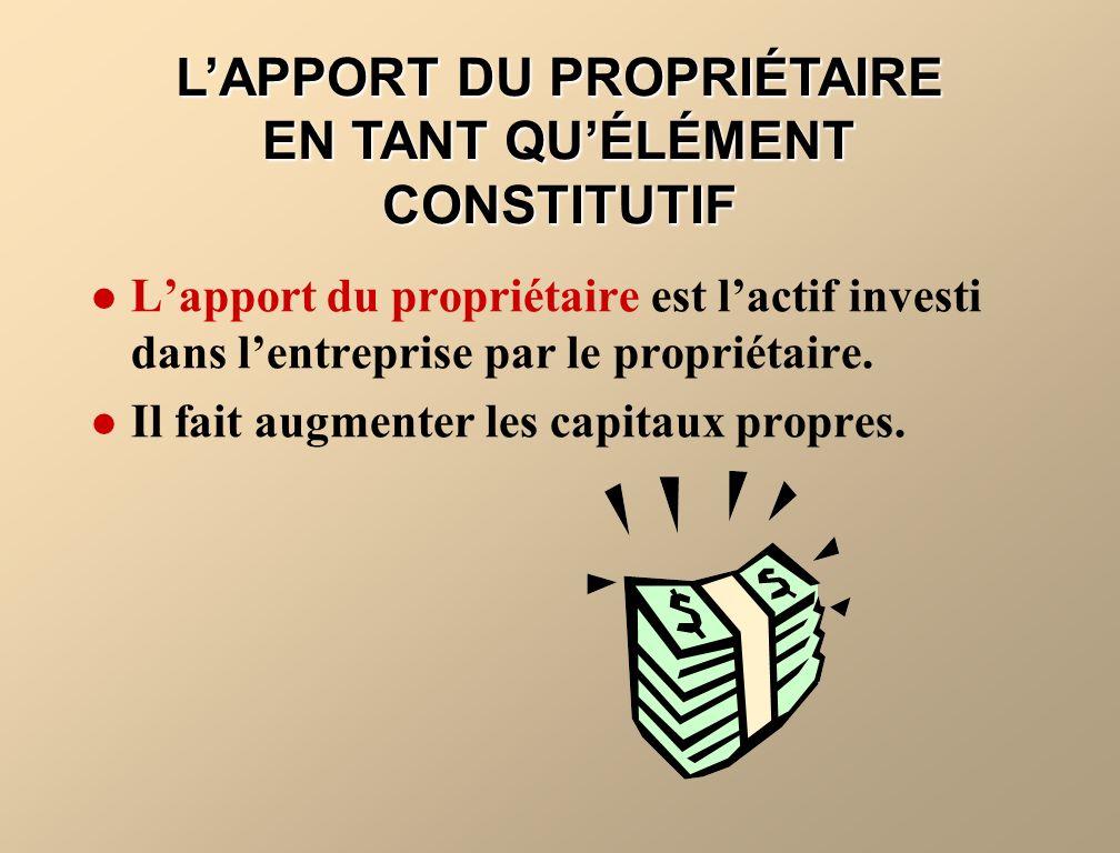 L'APPORT DU PROPRIÉTAIRE EN TANT QU'ÉLÉMENT CONSTITUTIF