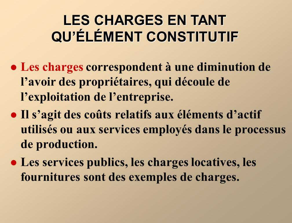 LES CHARGES EN TANT QU'ÉLÉMENT CONSTITUTIF