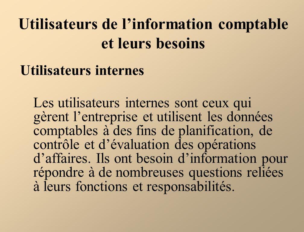 Utilisateurs de l'information comptable et leurs besoins