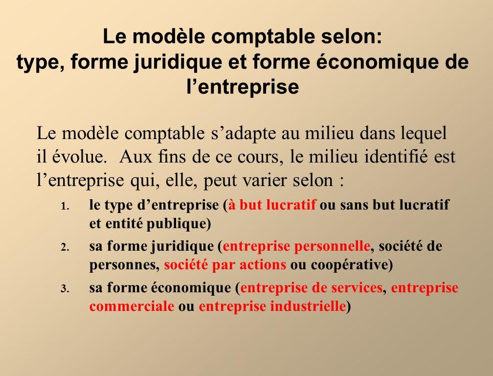 Le modèle comptable selon: type, forme juridique et forme économique de l'entreprise