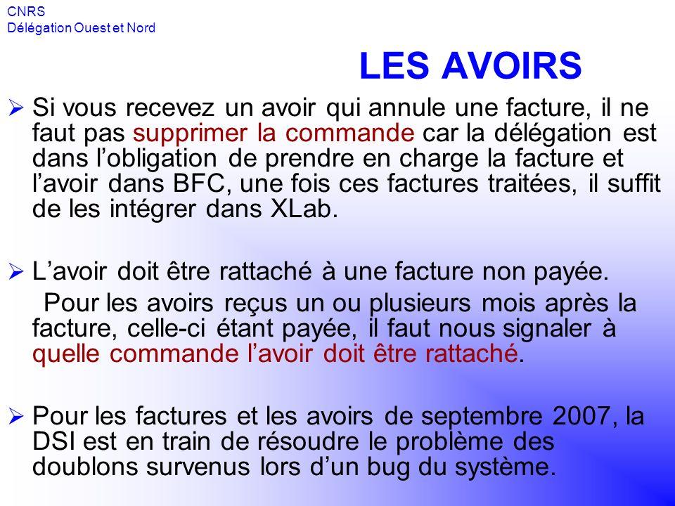 CNRS Délégation Ouest et Nord. LES AVOIRS.