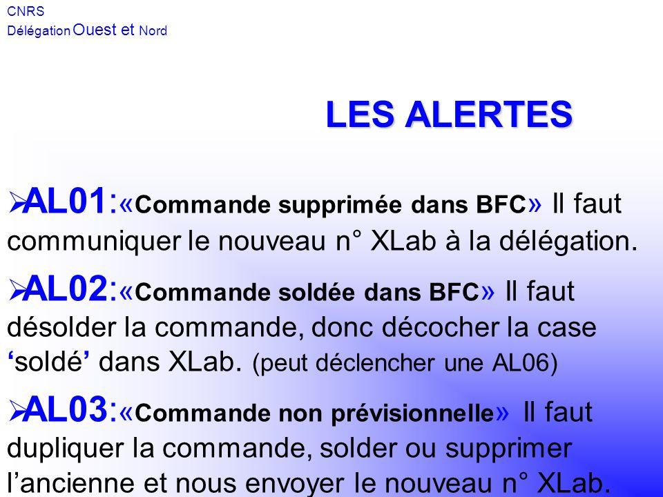CNRS Délégation Ouest et Nord. LES ALERTES. AL01:«Commande supprimée dans BFC» Il faut communiquer le nouveau n° XLab à la délégation.