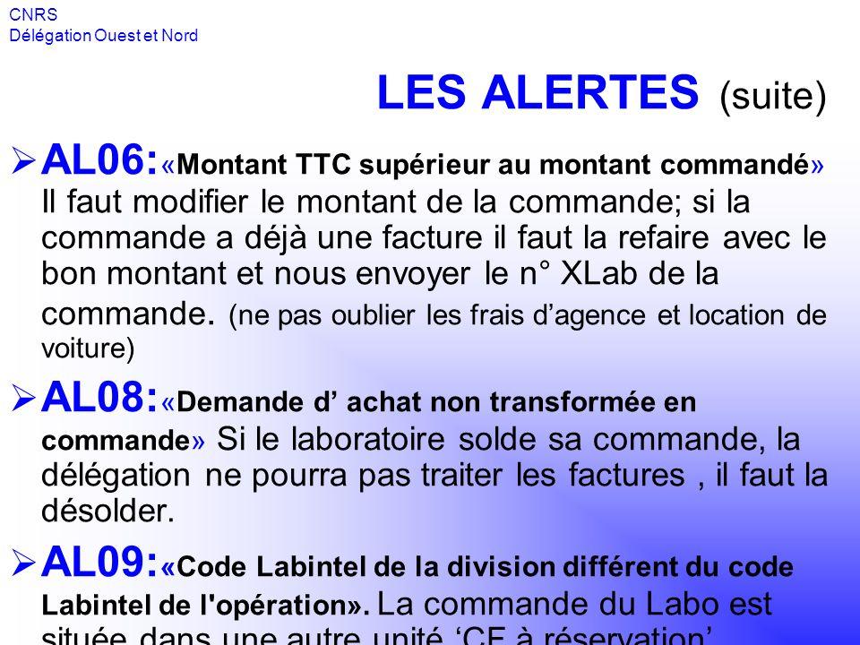 CNRS Délégation Ouest et Nord. LES ALERTES (suite)