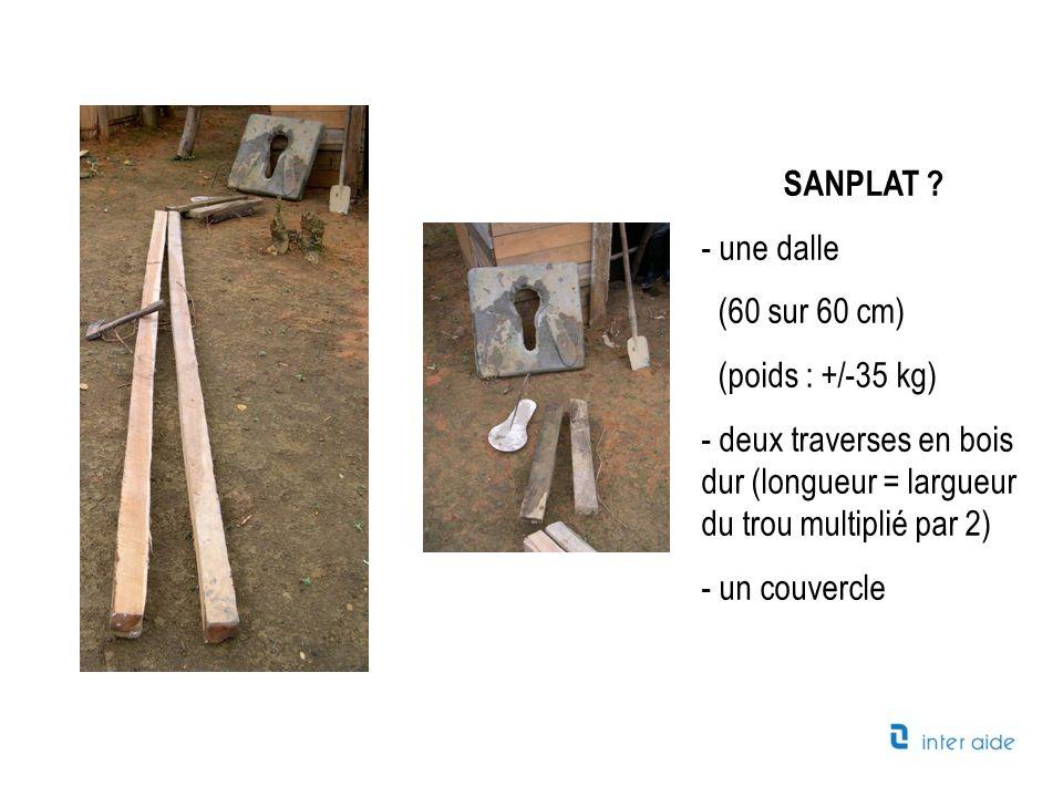 SANPLAT une dalle. (60 sur 60 cm) (poids : +/-35 kg) deux traverses en bois dur (longueur = largueur du trou multiplié par 2)
