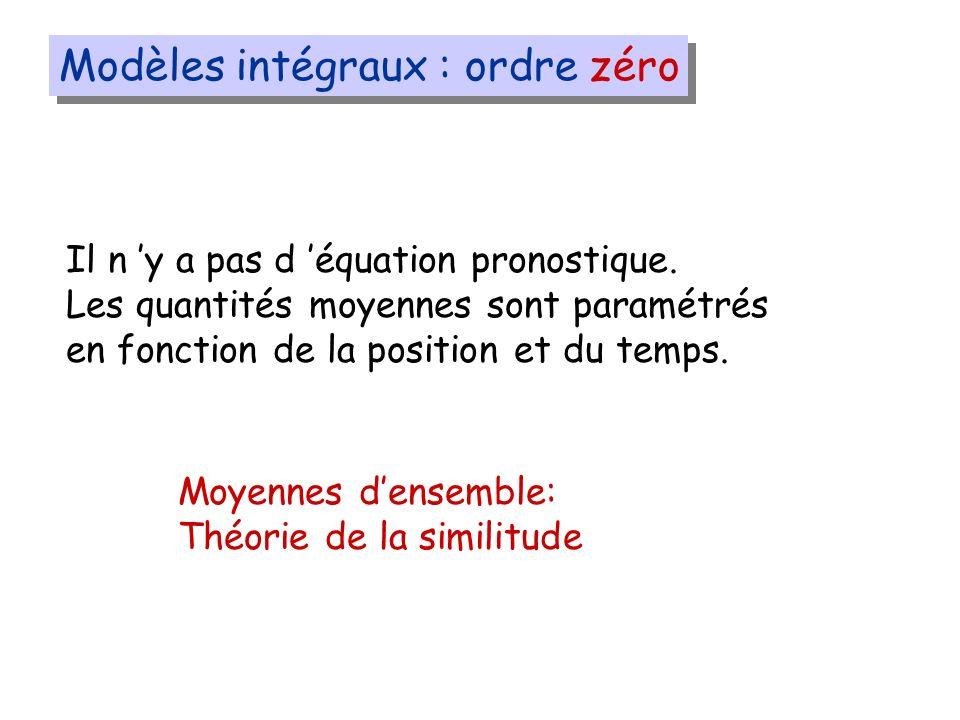 Modèles intégraux : ordre zéro