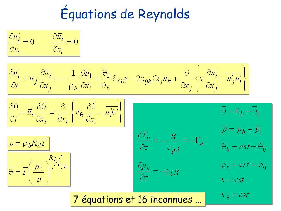 Équations de Reynolds 7 équations et 16 inconnues ...