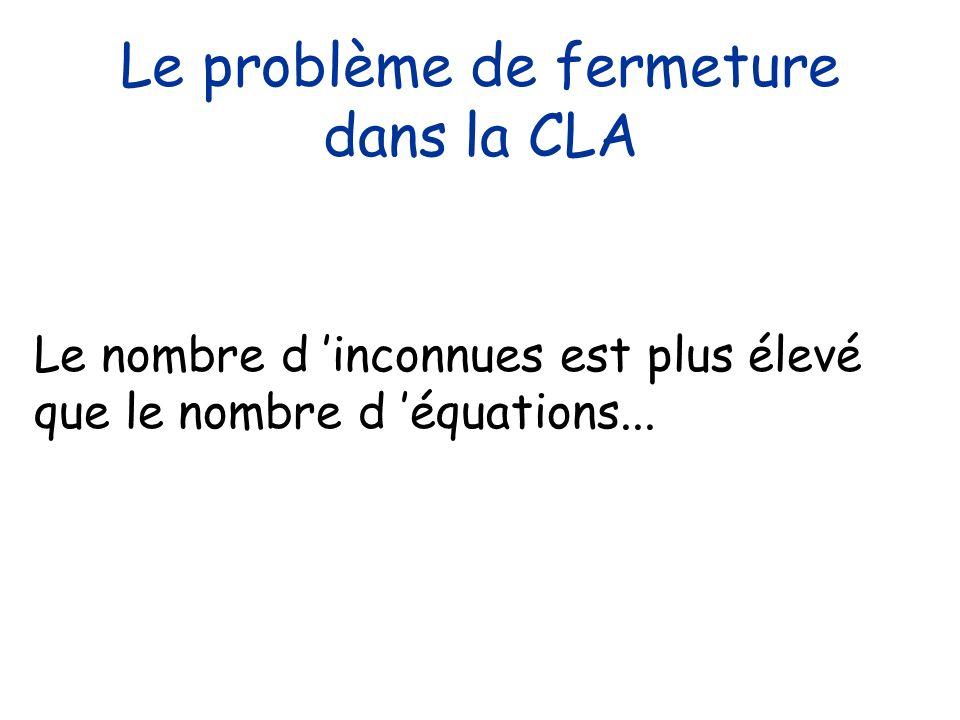 Le problème de fermeture dans la CLA