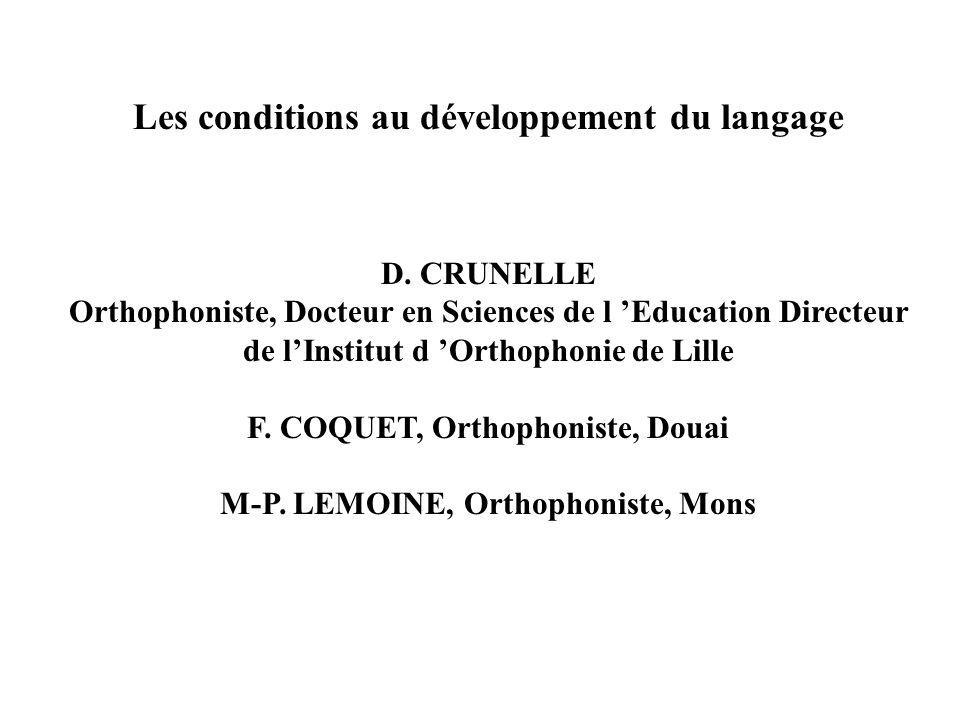 Les conditions au développement du langage