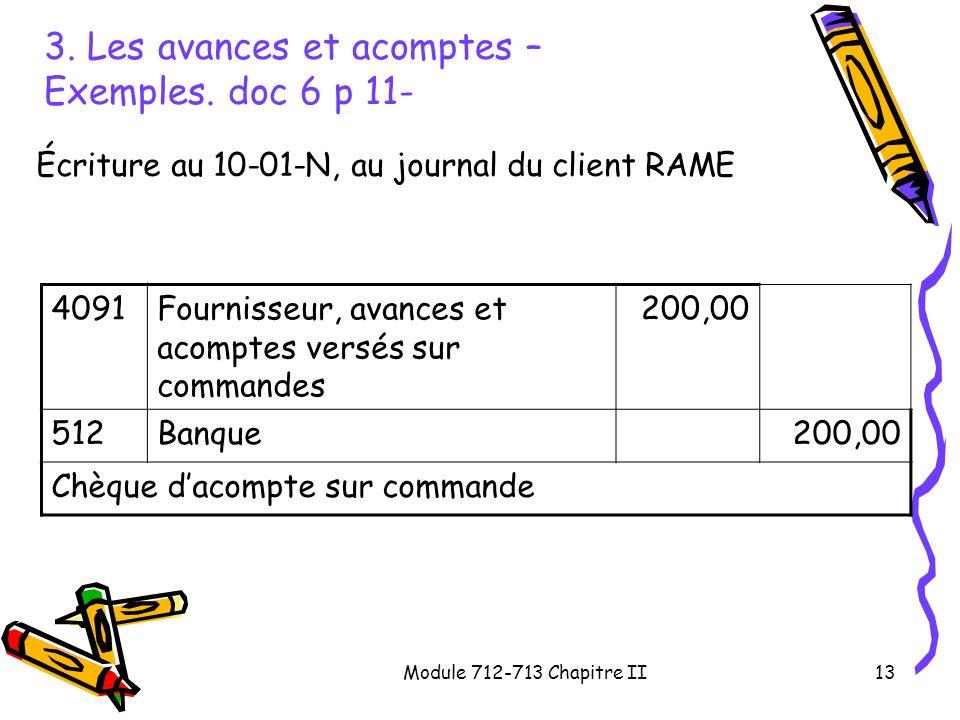 3. Les avances et acomptes – Exemples. doc 6 p 11-
