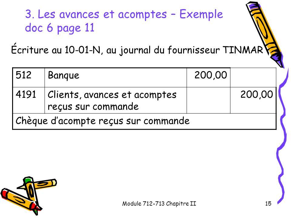 3. Les avances et acomptes – Exemple doc 6 page 11