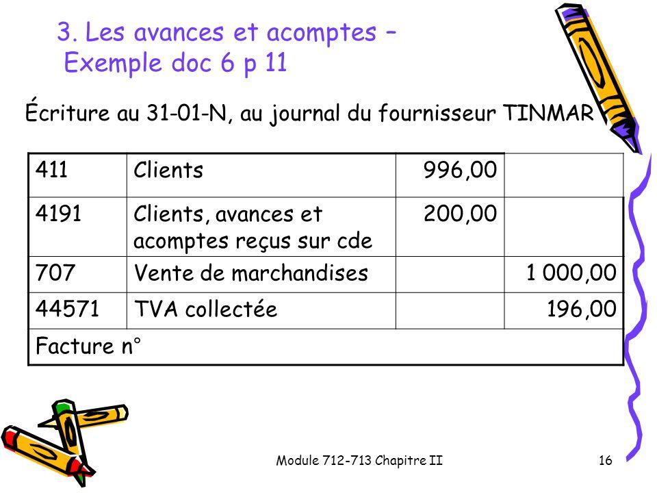 3. Les avances et acomptes – Exemple doc 6 p 11