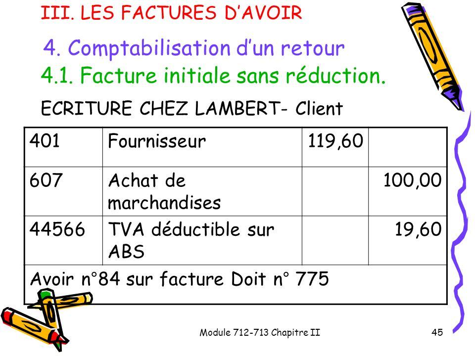 ECRITURE CHEZ LAMBERT- Client 401 Fournisseur 119,60 607