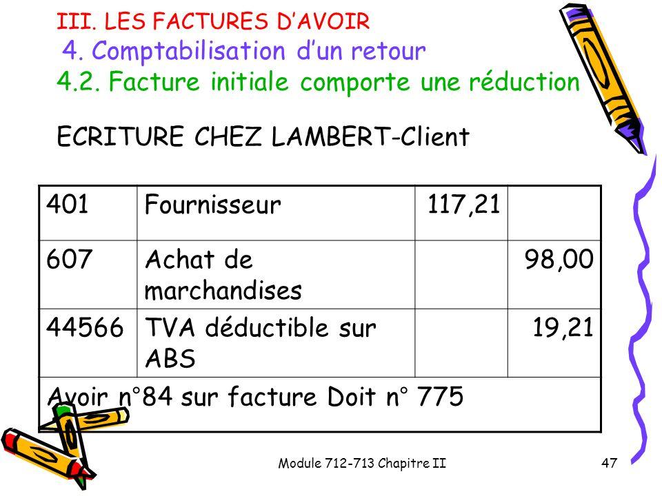 ECRITURE CHEZ LAMBERT-Client 401 Fournisseur 117,21 607