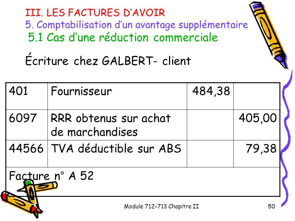 Écriture chez GALBERT- client 401 Fournisseur 484,38 6097