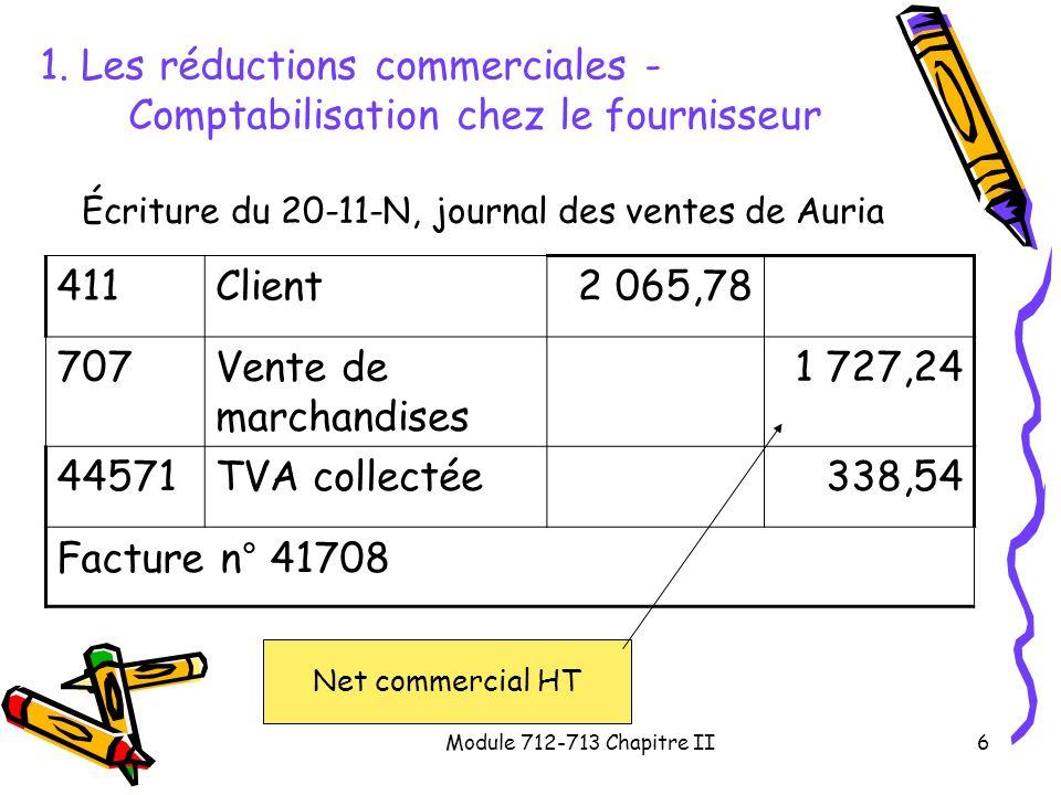 1. Les réductions commerciales - Comptabilisation chez le fournisseur