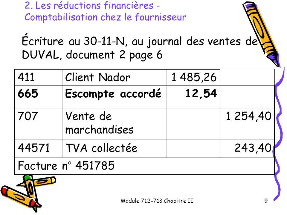 2. Les réductions financières - Comptabilisation chez le fournisseur
