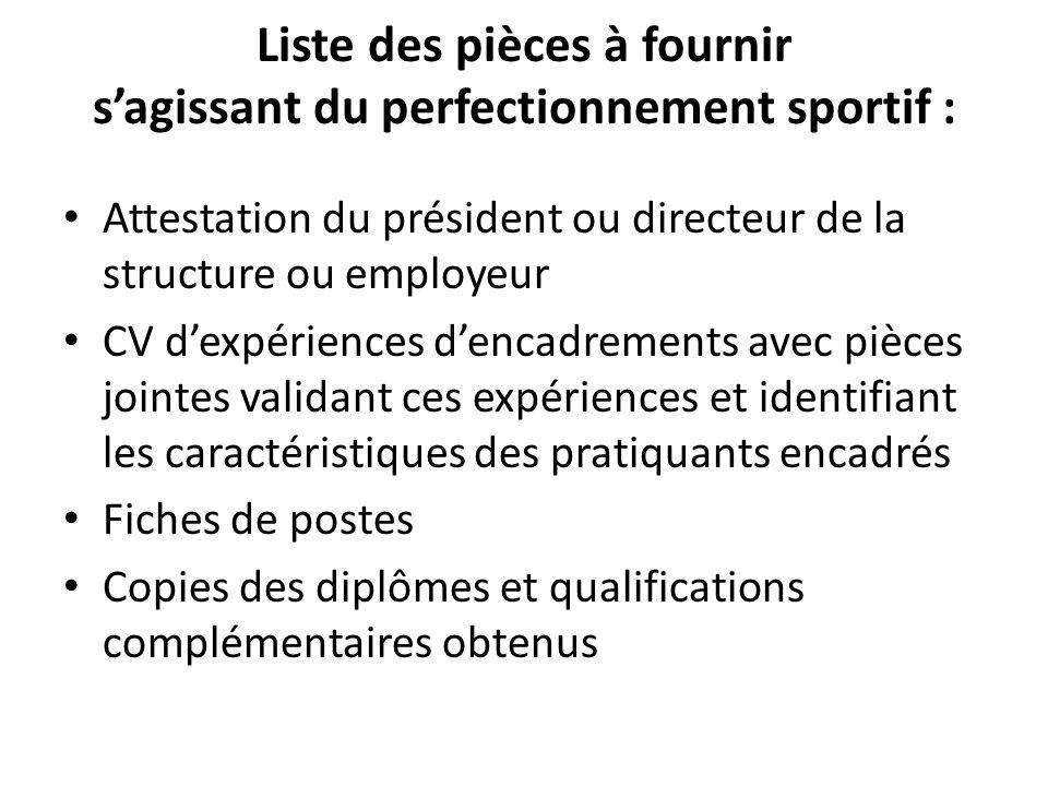 Liste des pièces à fournir s'agissant du perfectionnement sportif :