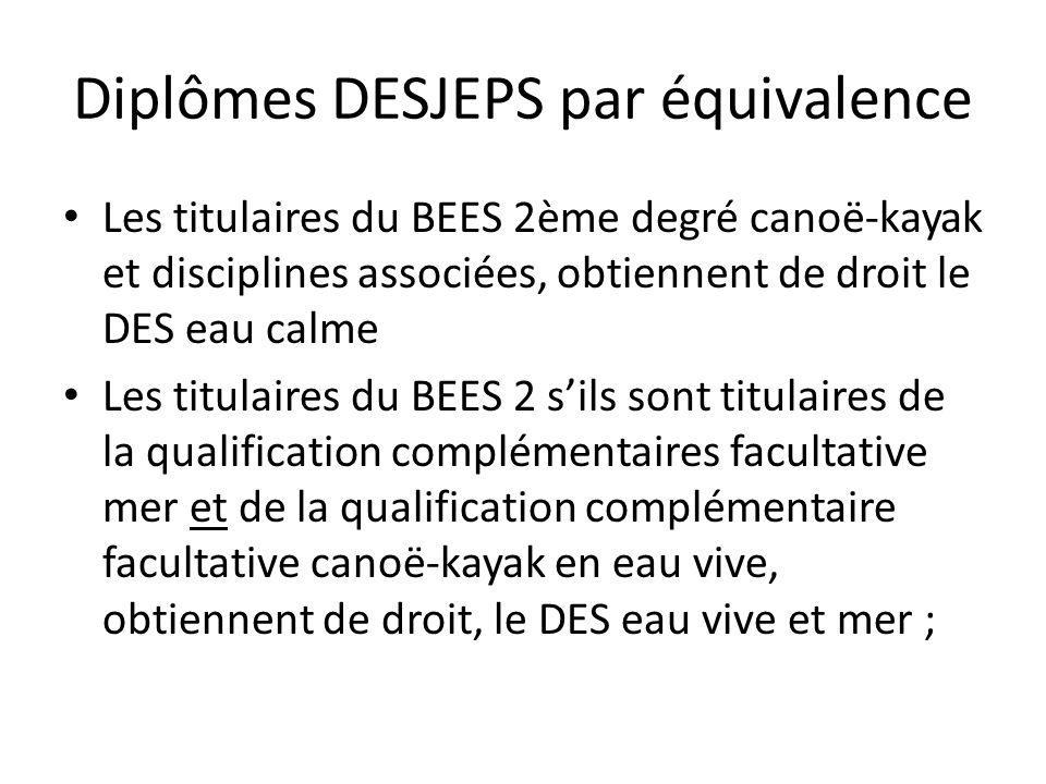 Diplômes DESJEPS par équivalence
