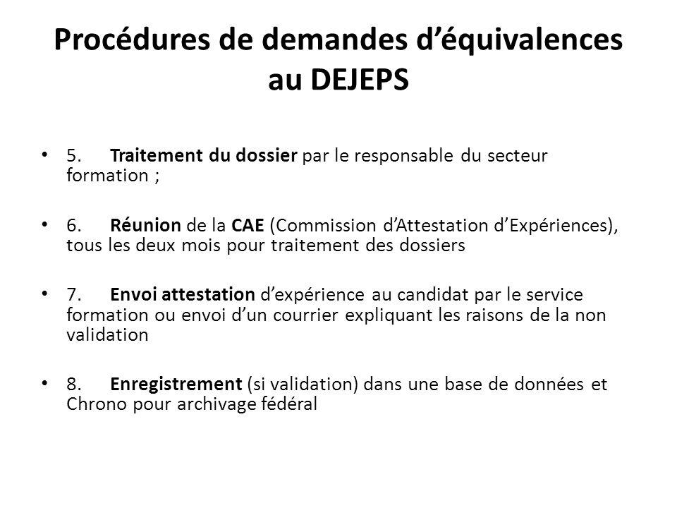 Procédures de demandes d'équivalences au DEJEPS