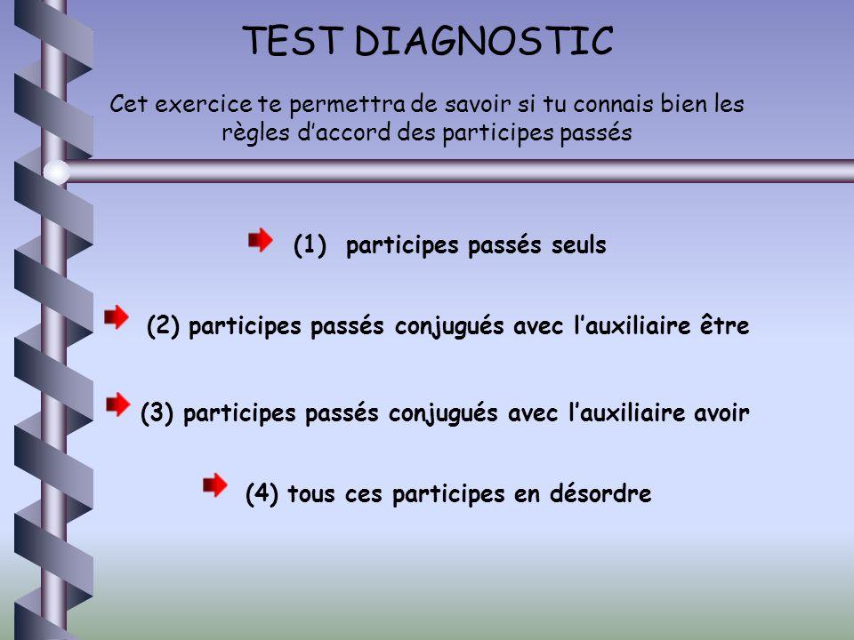 TEST DIAGNOSTIC Cet exercice te permettra de savoir si tu connais bien les règles d'accord des participes passés.