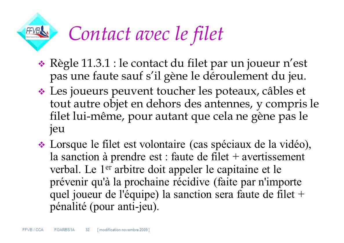 Contact avec le filet Règle 11.3.1 : le contact du filet par un joueur n'est pas une faute sauf s'il gène le déroulement du jeu.