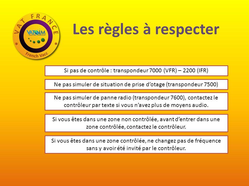 Les règles à respecter Si pas de contrôle : transpondeur 7000 (VFR) – 2200 (IFR) Ne pas simuler de situation de prise d'otage (transpondeur 7500)