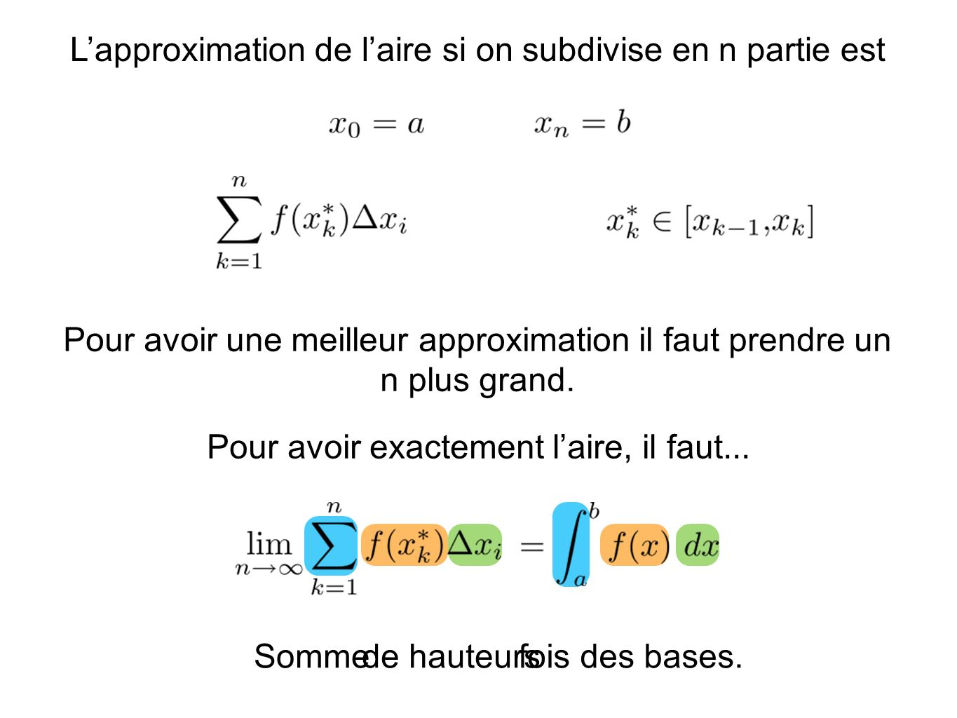 L'approximation de l'aire si on subdivise en n partie est