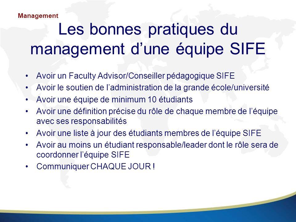 Les bonnes pratiques du management d'une équipe SIFE