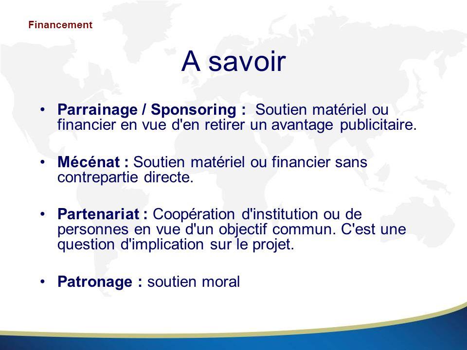 Financement A savoir. Parrainage / Sponsoring : Soutien matériel ou financier en vue d en retirer un avantage publicitaire.