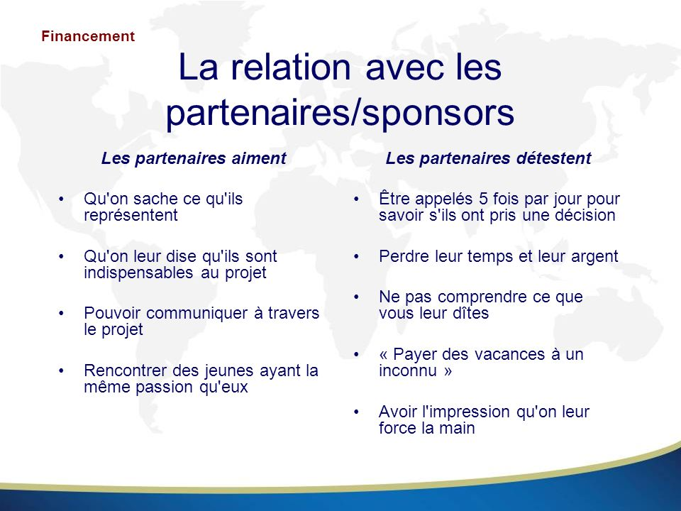 La relation avec les partenaires/sponsors