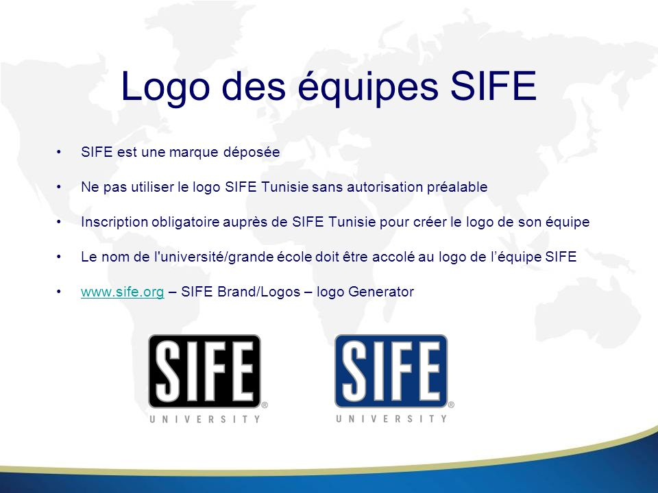 Logo des équipes SIFE SIFE est une marque déposée