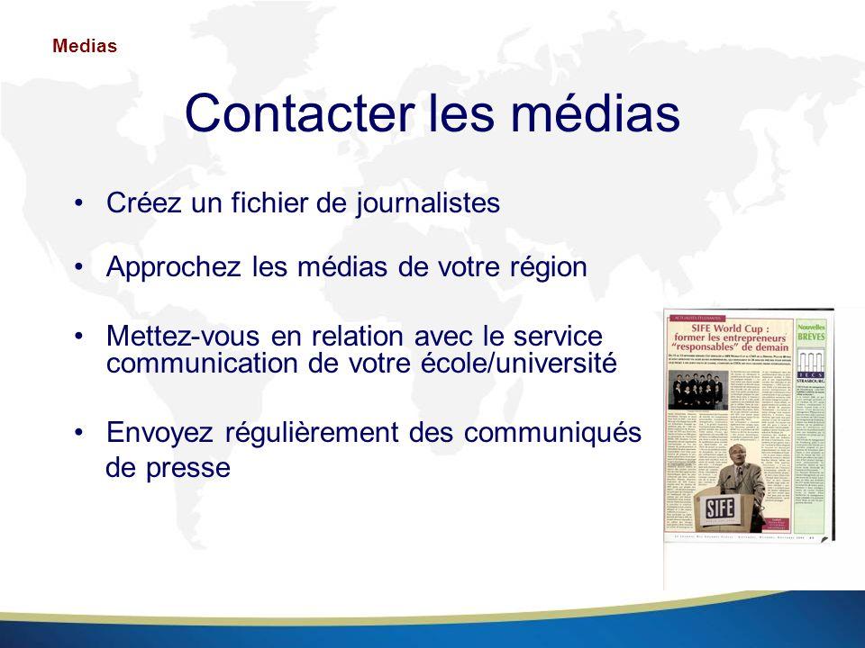 Contacter les médias Créez un fichier de journalistes