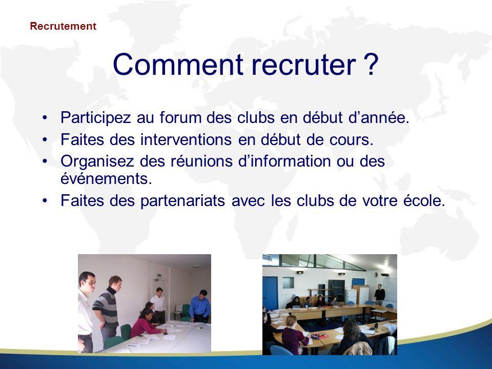 Comment recruter Participez au forum des clubs en début d'année.