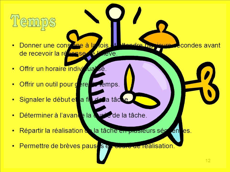Temps Donner une consigne à la fois et attendre plusieurs secondes avant de recevoir la réponse de l'élève.