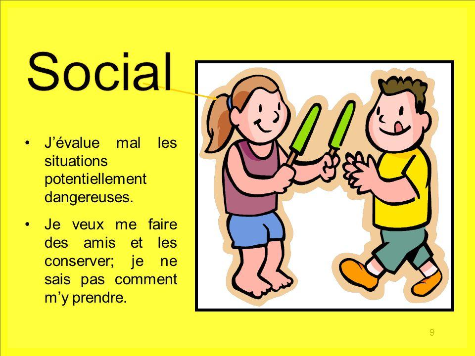 Social J'évalue mal les situations potentiellement dangereuses.
