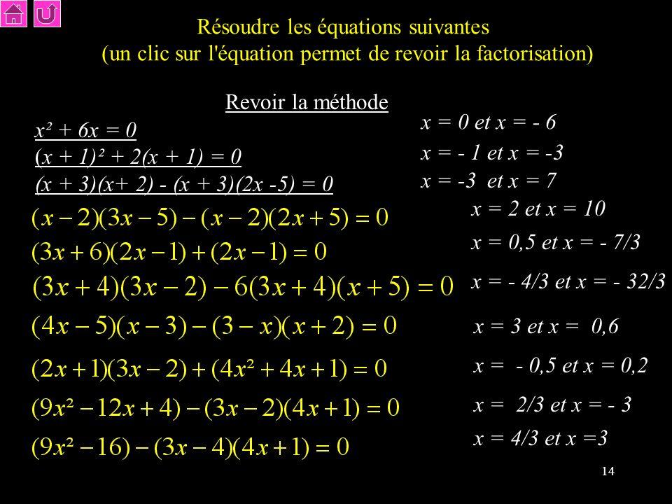 Résoudre les équations suivantes
